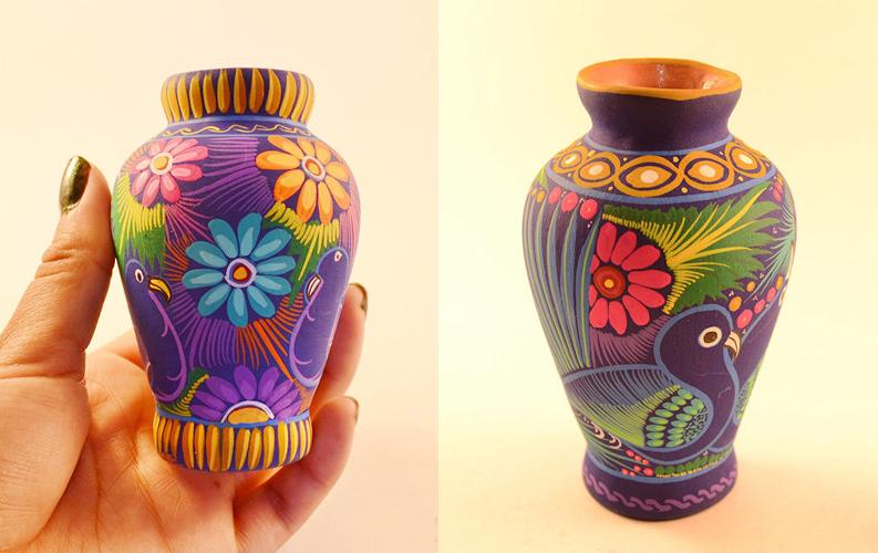 Mini Flower Vase Handpainted Colorful Folk Art Home Decor miniature art for Shelf