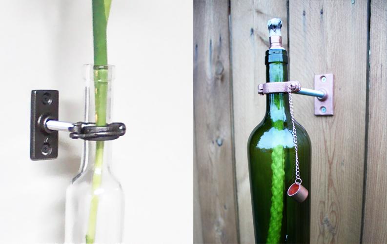 2 Wine Bottle Wall Flower Vases - Chrimstmas gift for mom - Wall Vase - Wall Decor - Wine bottle Decor - Spring Decor